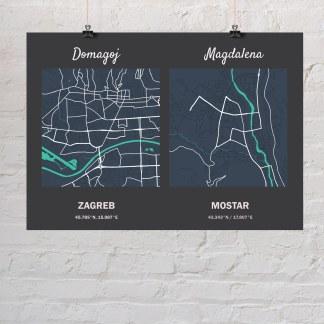 poklon za vjenčanje karta gradova s gradom mladoženje i mlade
