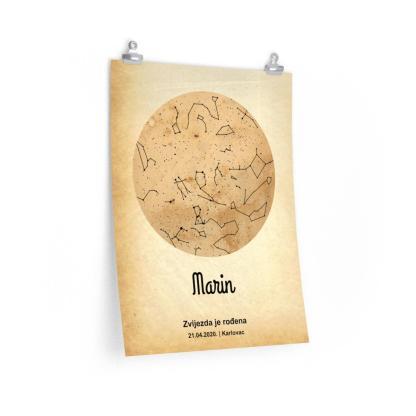 personalizairani poklon zvjezdani svod na starom rustikalnom papiru