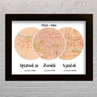 karta grada s 3 mjesta i događaja