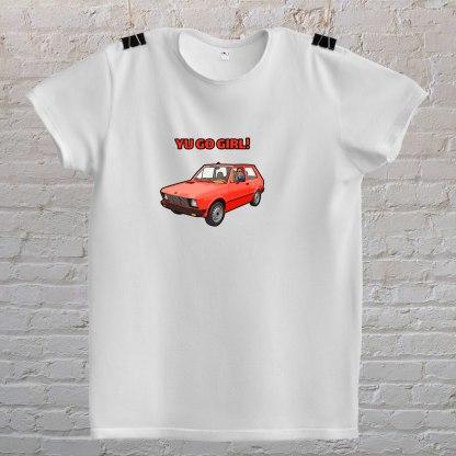 yugo girl automobil you go girl parodija bijela