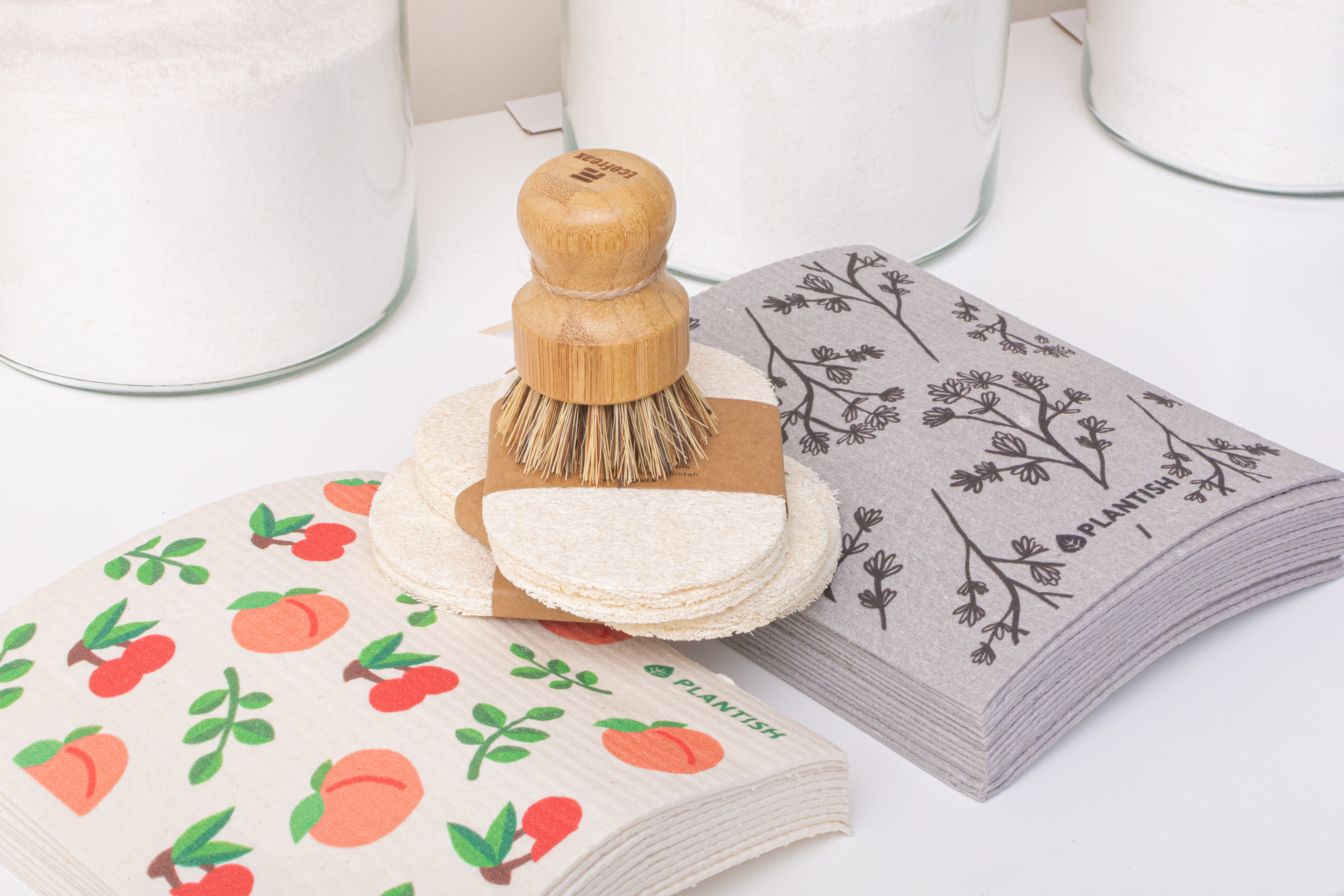 Dish brush and swedish towels. Staged photography.