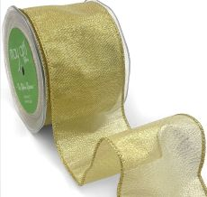 metallic gold organza wired ribbon