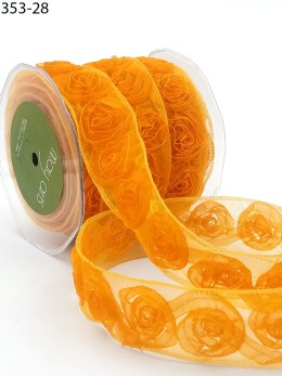 orange organza rosette roses ribbon