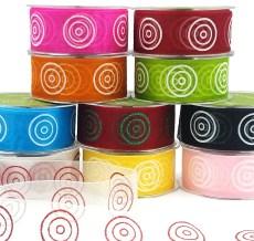 Glitter Circle Organza Ribbons