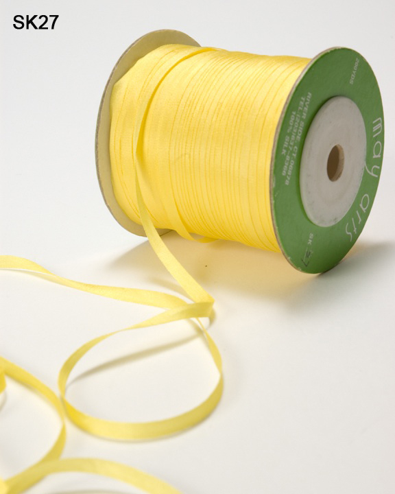 5 yards Yellow 1//8 Inch Silk Ribbon SK27 May Arts