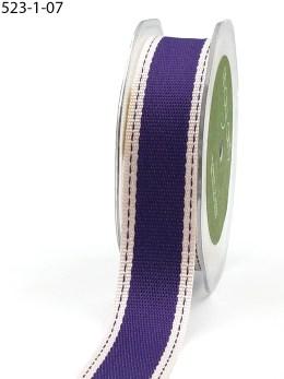 Violet Color Band Stitched Edge Cotton Ribbon