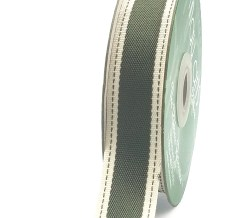 Olive Stitched Edge Color Band Ribbon