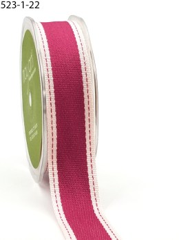 Hot Pink Stitched Edge Cotton Ribbon