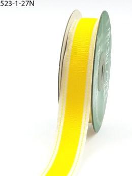 Yellow Stitched Edge Cotton Ribbon