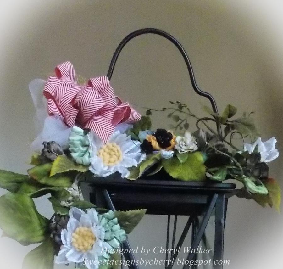 Floral Arrangement with Handmade Ribbon Flowers