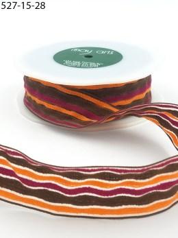 brown orange burgundy terrycloth stripes ribbon