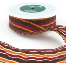 brown orange burgundy terrycloth stripes ribbon