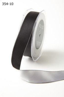 Black/White Satin Reversible Stitched Edge Ribbon