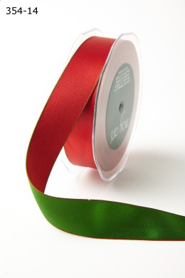 RED/GREEN Satin Reversible Stitched Edge Ribbon