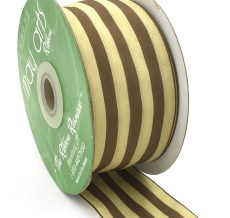 ivory and brown striped woven ribbon