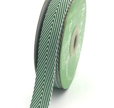 green and white chevron twill ribbon