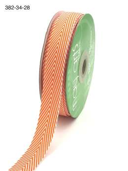 orange and white chevron twill ribbon