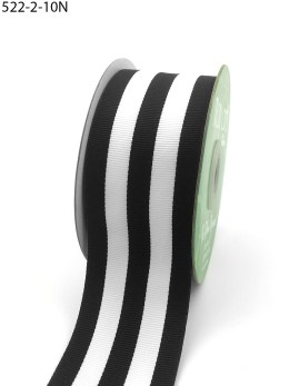Black and white striped grosgrain ribbon