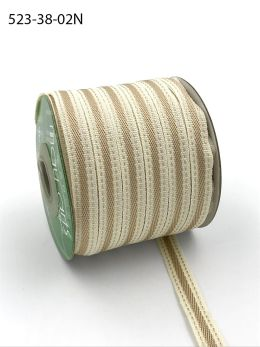 tan stitched edge cotton linen ribbon
