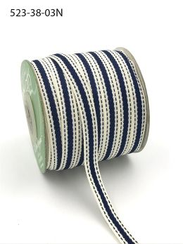 navy blue stitched edge cotton linen ribbon