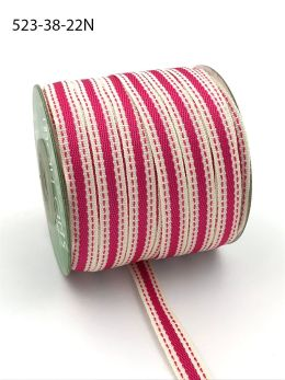 fuchsia stitched edge cotton linen ribbon