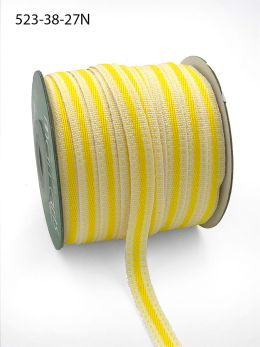 yellow stitched edge cotton linen ribbon