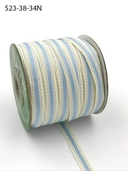 light blue stitched edge cotton linen ribbon