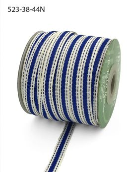 royal blue stitched edge linen cotton ribbon