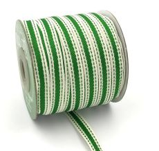 parrot green stiched edge cotton linen ribbon