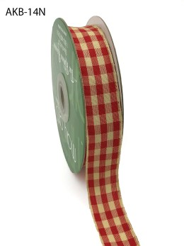red and ivory picnic gingham ribbon
