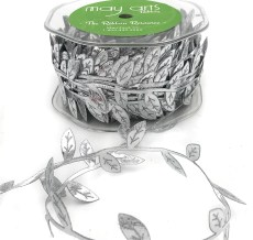 metallic silver leaf ribbon