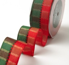 "1.5"" Red & Green Holiday Plaid Wired Christmas Ribbon"