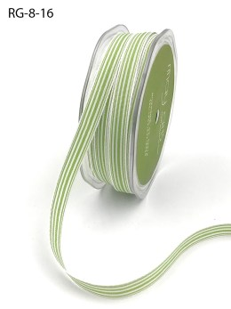 celery green and white striped grosgrain ribbon