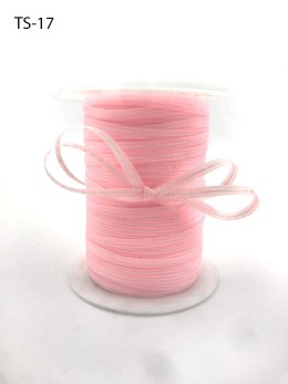 light pink and white stitched center woven ribbon