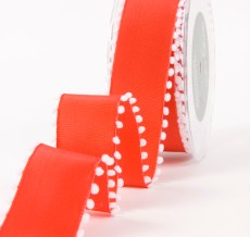 Red/White Solid / Pom Pom Edge (Wired) Ribbon