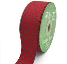 red and green swiss dots polka dot grosgrain ribbon