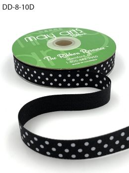 black and white swiss dot polka dot grosgrain ribbon