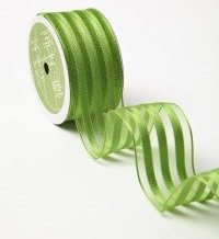 Parrot Green/White White Center Design (Wired) Ribbon