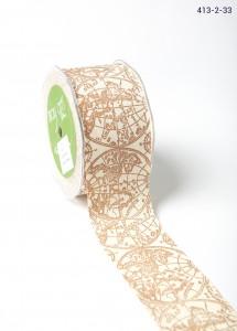 Brown globe Ivory Canvas w/ Print Ribbon