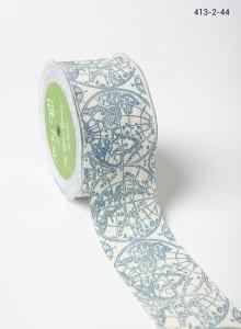 Blue globe Ivory Canvas w/ Print Ribbon