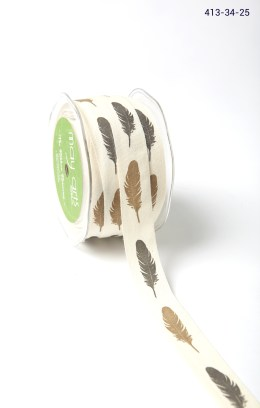 feather print cotton ribbon