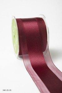 Burgundy Sheer With Center Satin Ribbon
