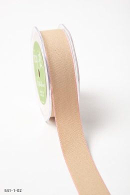 Natural/Pink Solid With Color Edge Ribbon