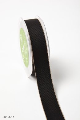 Black/Natural Solid With Color Edge Ribbon