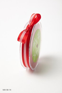 Red Solid with White Stitched Center Ribbon
