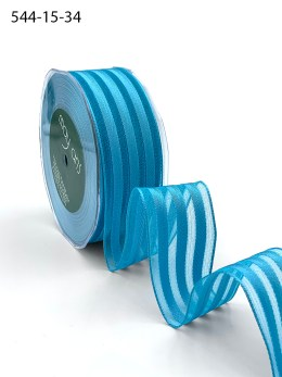 electric blue woven stripes wired ribbon