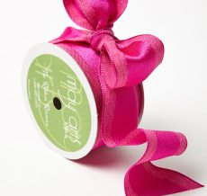 Fuchsia Solid With Woven Center (Wired) Ribbon