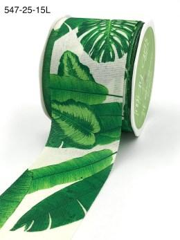 tropical banana leaf hawaiian palm faux linen ribbon