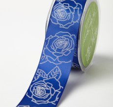 "1.5"" x 25y Blue/White Double Faced Satin Sketched Rose Print Ribbon"