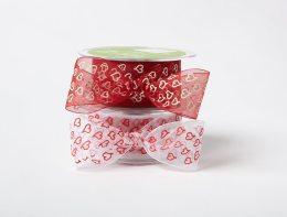 NE 1.5″x30y Drawn Hearts Sheer Ribbon